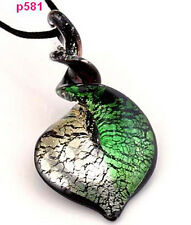 p581 Bicolor Knob Heart Lampwork Art Glass Pendant Necklace green white c
