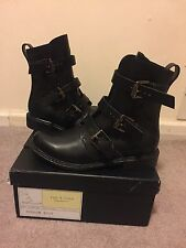 New In Box Rag & Bone Hudson Boot Moto Black Leather 6.5 Us 36.5 Eu Shoes $695