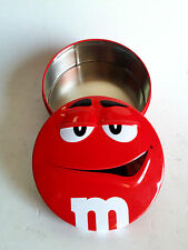 M+M's Metal Tin Red Box Container Round Candys Chocolate Mar's Advertising