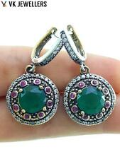 TURKISH OTTOMAN HANDMADE JEWELRY 925 STERLING SILVER EMERALD EARRINGS E2956