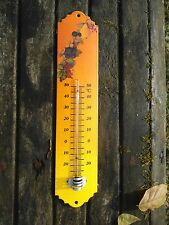 THERMOMETRE EMAILLE 30cm ORANGE FRUITS NEUF EMAIL VERITABLE 800°C FAB. EN FRANCE