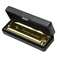 New HOT Swan Harmonica 10 Holes Key of G with Case Golden with Case