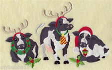 COWS CHRISTMAS ON THE FARM SET OF 2 BATH HAND TOWELS EMBROIDERED BY LAURA