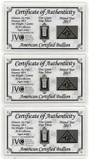 Pure Fine Silver Bar 5 Grain Ingot Gift Card COA Certified Invest Birthday Lot