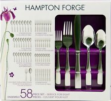 Hampton Forge 18/0 Stainless bristol satin Flatware Set  58PC spoon fork paypal