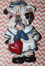 Vintage Folk Art English Bulldog Girl Dog Sailor Ornament Vintage Nostalgic