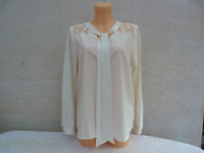 BNWT Next ivory longsleeved pussy bow top lace insert sz 14