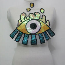 1 Pcs Eye Eyeball AB Sequined Tulle Applique/Patch Motif Sew On