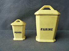 Lot 2 ancien pots de farine et poivre en céramique jaune déco vintage old french