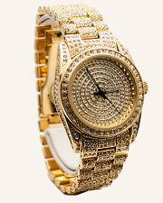 GENEVA: 18k Gold Finish Full Lab Diamond stones Black Hands Analog quartz watch