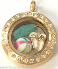 ❤️AUTHENTIC ORIGAMI OWL BEACH LOVER ~ MINI LOCKET CHARMS ~ SURF BOARD SANDALS❤️