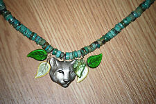 handmade totem art PANTHER cat Real turquoise beads PENDANT statement necklace