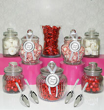 "Candy Jar Lolly Buffet .. 8 JARS ""TEMPT"" Set + 4 Scoops .. Apothecary Jar"