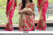 DESIGNER PARTY WEAR PINK & CREAM COLOR HALF & HALF EMBROIDERY  HEAVY SAREE