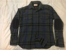 VINTAGE FILSON LG BLUE and GREEN PLAID ELBOW PATCH FLANNEL WORK/SPORT SHIRT