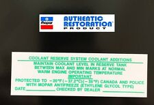 1973 74 75 Chrysler Dodge Plymouth Coolant Reserve System Decal MoPar NEW