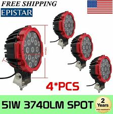 "4Pcs 7"" inch 51W Round CREE LED Work Lights Spot Offroad Boat ATV SUV Truck"