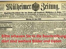 Mülheimer Zeitung 1909 Mülheim a/d Ruhr Ruhrgebiet Stadtgeschichte WAZ Historie