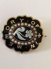Antique 9ct Gold Black Enamel, Seed Pearl And Carved Sardonyx Mourning Brooch