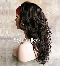 Dark Brown 3/4 Fall Hairpiece Half Wig Long Curly/Wavy Layered Hair Piece NEW