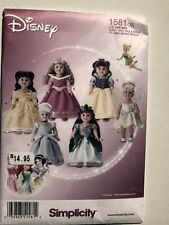 Simplicity Pattern 1581 Disney Princess Costumes For 18 Inch Dolls outfits