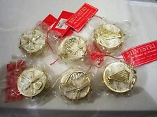 SILVESTRI Set of 6 Drum Musical Instrument Ornaments NEW
