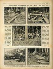 Woodcutters lumberers bûcherons Canada Soldiers pioneers British Front 1917 WWI
