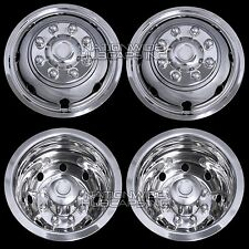 "Chevy 3500 16"" Dual Steel Wheel Simulators Dually 8 Lug Rim Skins Liners Covers"