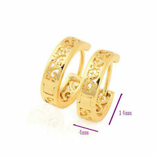 Fashion Delicate Hollow 24k Gold Plated Silver Gold Filled Womens Hoop Earrings