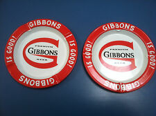 2 RARE VINTAGE BIG G GIBBONS PREMIUM BEER WILKES BARRE PA TIN ASHTRAYS NOS
