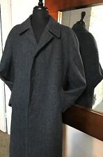 Private Label Mens 42R Heavy 100% Wool Blue Herringbone Top Coat Trench Coat