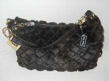 New NWT Gal dark brown faux fur quilt purse bag handbag dual 2 handle option