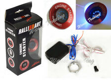 Red Car RalliArt Push Button Ignition Engine Start Starter Switch Kit Blue Led