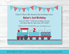 Choo Choo Train Red Blue Baby Boy Printable Birthday Invitation Editable PDF