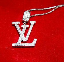 Vintage LOUIS VUITTON 18K WHITE GOLD DIAMOND LV PENDANT 14K WG Necklace
