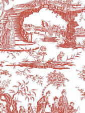 Oriental Scenic Toile in Red and Off-White Wallpaper - per Triple Roll 11141410