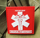 RED RESCUER GEAR MEDICAL TREATMENT 3D TACTICAL ARMY PVC RUBBER VELCRO PATCH