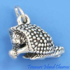CUTE PORCUPINE EATING NUT 3D .925 Solid Sterling Silver Charm