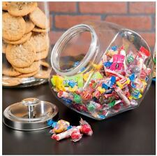 Set of 4 One (1) Gallon Glass Penny Candy, Coffee, Cookie Display Jar Chrome Lid