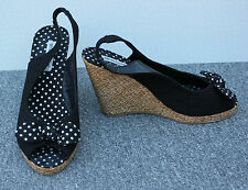 Atmosphere Black Canvas Wedge Sandals With Polka Dot Bow Size 6/39