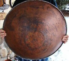 "Rare - 1800's - Large 22"" - Hand Forged - Hammered Copper - Chinese - Gold Pan"