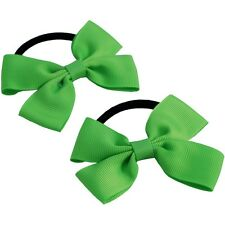 2 x Double 'Flat Bow' Bobbles | Hair Bobbles Elastic School Hair Various Colours