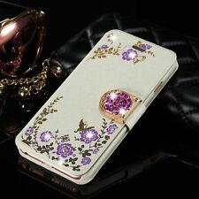 Luxury Leather Cover Bling Diamond Flower Card Wallet Case For iPhone 6S 7 Plus