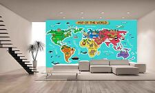 Map of the World Wall Photo Wallpaper GIANT WALL DECOR PAPER POSTER
