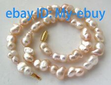 Luster Pink Twins Baroque Unusual Freshwater Pearl Necklace 18""