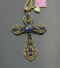 524TL      Betsey Johnson Crystal Antique Bronze Cross Pendant Long Necklaces
