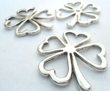 5 x Four Leaf Clover Metal Alloy Pendants Charms