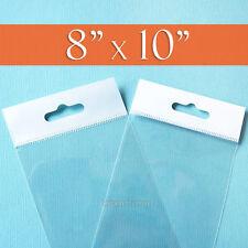 """100 Clear Cello Bags: 8"""" x 10"""" HANG TOP, Resealable OPP Poly Cellophane, 8x10"""