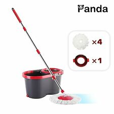 Panda Premium Effortless Spin Mop and Bucket Set (4 Mop Heads + 1 Extension Rod)