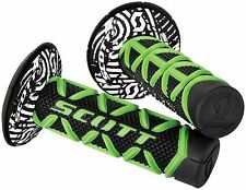 SCOTT DIAMOND HANDLEBAR GRIPS GREEN BLACK WITH DONUTS MOTOCROSS DIRTBIKE